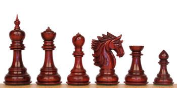 Bucephalus Staunton Chess Set Padauk Boxwood Pieces with Mission Craft Padauk Chess Board