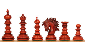 Strategos Staunton Chess Set Padauk Boxwood Pieces with Mission Craft Padauk Chess Board