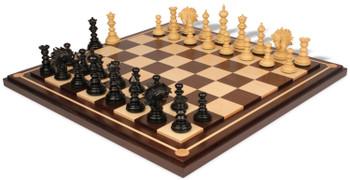 Strategos Staunton Chess Set Ebony Boxwood Pieces with Walnut Mission Craft Chess Board