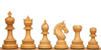 Chetak Staunton Chess Set Ebony Boxwood Pieces with Elm Burl Erable Chess Board 425 King