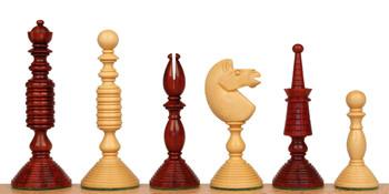 Circa 1800 English Turned Antique Reproduction Chess Set Padauk Boxwood Pieces with Padauk Molded Chess Board