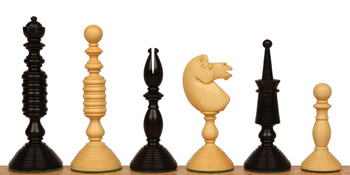 Circa 1800 English Turned Antique Reproduction Chess Set Ebony Boxwood Pieces with Black Ash Burl Chess Board