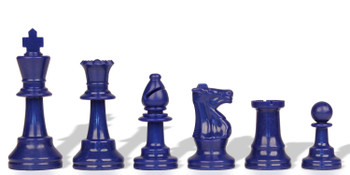 Blue Club Plastic Chess Pieces with 375 King 17 Piece Half Set