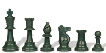 Army Green Club Plastic Chess Pieces with 375 King 17 Piece Half Set