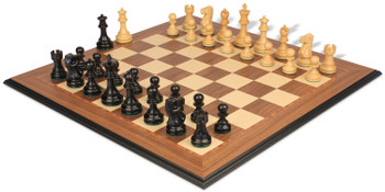 Deluxe Old Club Staunton Chess Set Ebony Boxwood Pieces with Walnut Molded Edge Chess Board 375 King