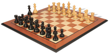 Deluxe Old Club Staunton Chess Set Ebonized Boxwood Pieces with Mahogany Molded Edge Chess Board 325 King