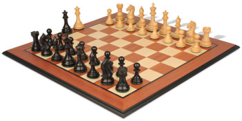 Fierce Knight Staunton Chess Set Ebonized Boxwood Pieces with Mahogany Molded Edge Chess Board 3 King