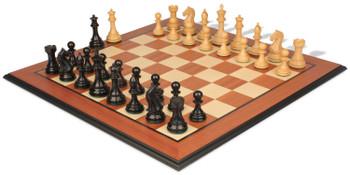 Fierce Knight Staunton Chess Set Ebonized Boxwood Pieces with Mahogany Molded Edge Chess Board 4 King