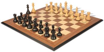 British Staunton Chess Set Ebonized Boxwood Pieces with Walnut Molded Edge Chess Board 4 King