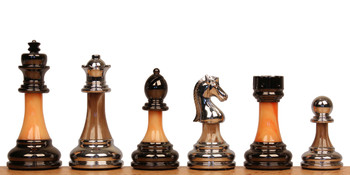 Decorative Staunton Silver Black Anodized Chess Set with Brown Ash Burl Board 35 King
