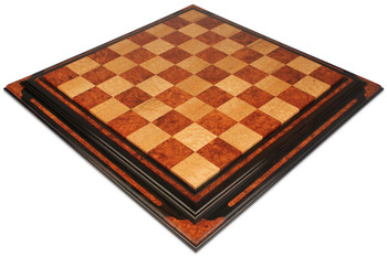 Red Amboyna Birds Eye Maple Custom Made Solid Wood Chess Board 25 Squares