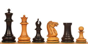 1849 Heirloom Staunton Chess Set Ebony Distressed Boxwood Pieces 44 King