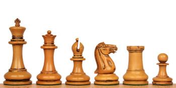 1849 Heirloom Staunton Chess Set Distressed Ebony Boxwood with Walnut Molded Chess Board