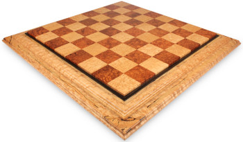 Birds Eye Maple Red Amboyna Custom Made Solid Wood Chess Board 25 Squares