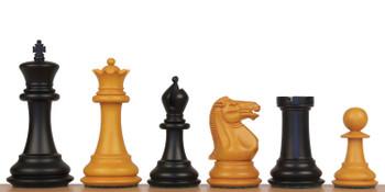 "1850 Heirloom Staunton Chess Set Ebony & Aged Boxwood Pieces - 4"" King"