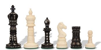 Crowned Domed Decorative Bone Chess Pieces Black Natural