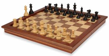 British Staunton Chess Set in Ebonized Boxwood with Walnut Folding Chess Case 3 King