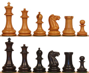"1849 Heirloom Staunton Chess Set Aged Ebony & Boxwood Pieces - 4.4"" King"