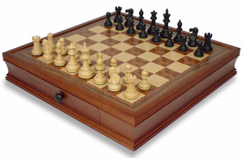 British Staunton Chess Set in Ebonized Boxwood with Walnut Chess Case 3 King