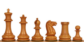"1849 Heirloom Staunton Chess Set Aged Ebony & Boxwood Pieces with Walnut Burl Board- 4.4"" King"