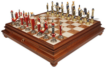 Italfama Renaissance Hand Painted Metal Chess Set with Tuscan Marble & Wood Chess Case