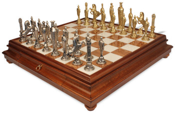 Italfama Renaissance Theme Chess Set with Tuscan Marble & Wood Chess Case