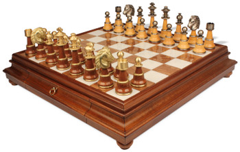 Italfama Large Persian Wood & Metal Chess Set with Tuscan Marble & Wood Chess Case