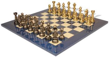 Large Staunton Metal Chess Set with Blue Ash Burl Chess Board