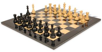 British Staunton Chess Set Ebony Boxwood Pieces with Black Ash Burl Chess Board 3 King