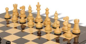 British Staunton Chess Set Ebony Boxwood Pieces with Black Ash Burl Chess Board 4 King