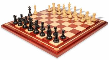 British Staunton Chess Set Ebony Boxwood Pieces with Mission Craft Padauk Chess Board 4 King