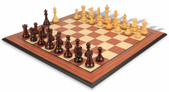 British Staunton Chess Set in Rosewood Boxwood with Rosewood Molded Chess Board 3 King