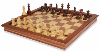 British Staunton Chess Set in Rosewood Boxwood with Walnut Folding Chess Case 3 King