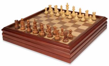 British Staunton Chess Set in Golden Rosewood Boxwood with Walnut Chess Backgammon Case 3 King