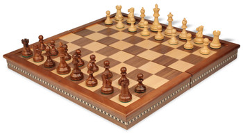 British Staunton Chess Set in Golden Rosewood Boxwood with Walnut Folding Chess Case 3 King