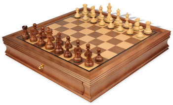 British Staunton Chess Set in Golden Rosewood Boxwood with Walnut Chess Case 3 King