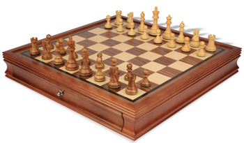 British Staunton Chess Set in Golden Rosewood Boxwood with Walnut Chess Case 35 King