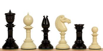 Edinburgh Upright Antique Reproduction Chess Set in Black Ivory 425 King
