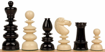 Calvert Antique Reproduction Chess Set in Black Ivory 44 King