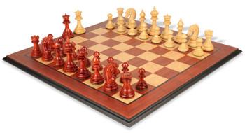 Cyrus Staunton Chess Set Padauk Boxwood Pieces with Padauk Maple Molded Edge Chess Board
