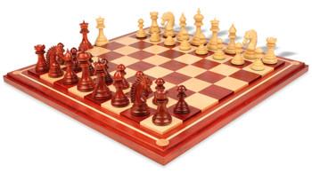 Cyrus Staunton Chess Set Padauk Boxwood Pieces with Padauk Maple Mission Craft Chess Board
