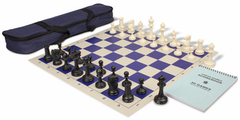 Deluxe Club Carry All Chess Set Package Black Ivory Pieces Blue