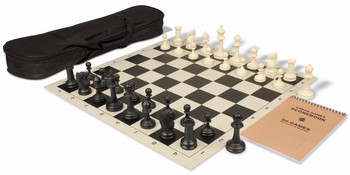 Deluxe Club Carry All Chess Set Package Black Ivory Pieces Black