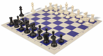 Deluxe Club Plastic Chess Set Board with Black Ivory Pieces Blue