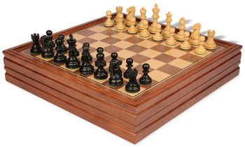 Deluxe Old Club Staunton Chess Set in Ebonized Boxwood with Walnut Chess Backgammon Case 325 King