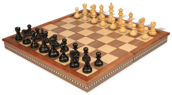 Deluxe Old Club Staunton Chess Set in Ebonized Boxwood with Walnut Folding Chess Case 325 King