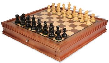 Deluxe Old Club Staunton Chess Set Ebonized Boxwood Pieces with Walnut Chess Case 325 King