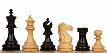 Deluxe Old Club Staunton Chess Set with Ebony Boxwood Pieces 375 King