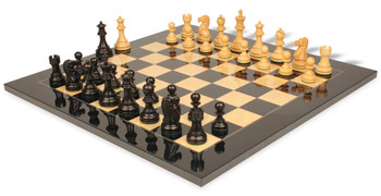 Deluxe Old Club Staunton Chess Set Ebony Boxwood Pieces with Black Ash Burl Chess Board 375 King