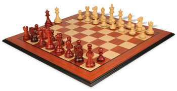 Deluxe Old Club Staunton Chess Set Padauk Boxwood Pieces with Molded Edge Padauk Chess Board 325 King